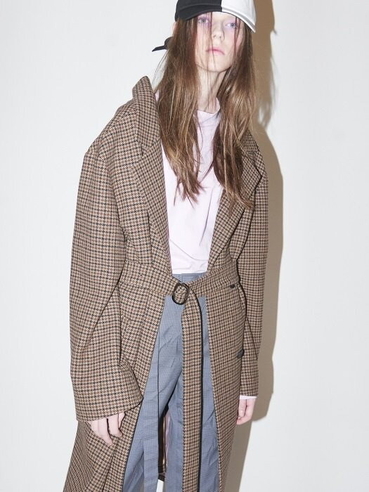 HOUNDTOOTH CHECK COAT-BROWN CHECK