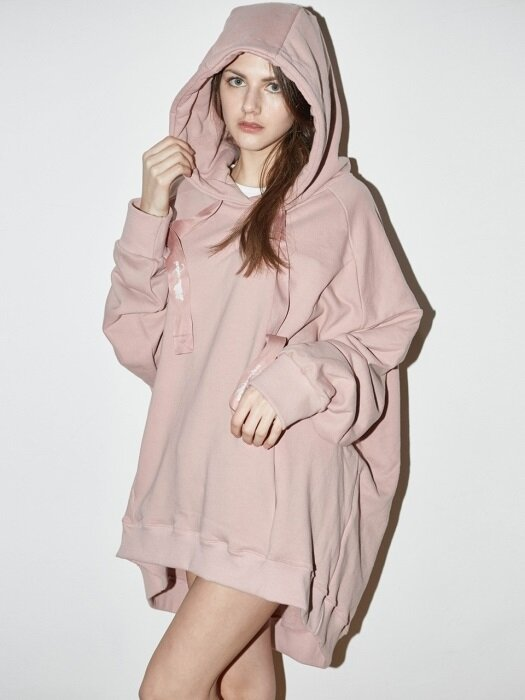 OVERSIZED FLARE HOODIE2 (PINK)