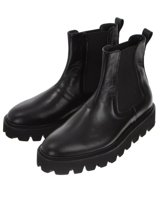 Black Leather Kip Chelsea Boots
