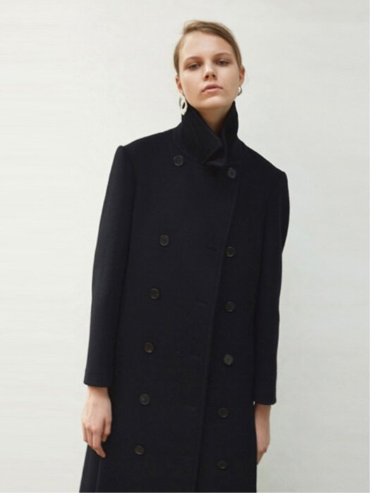 17FW DOUBLE BREASTED WOOL LONG COAT (BLACK)