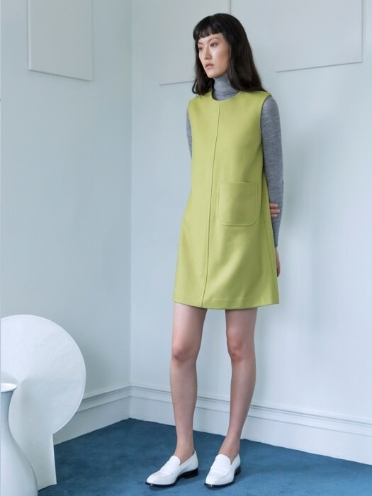 WOOL SLEEVELESS DRESS(YELLOW GREEN)
