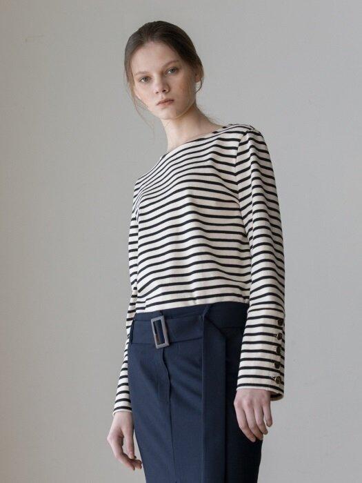 Sleeve Button Slim Cotton Tshirts (Black Stripe)