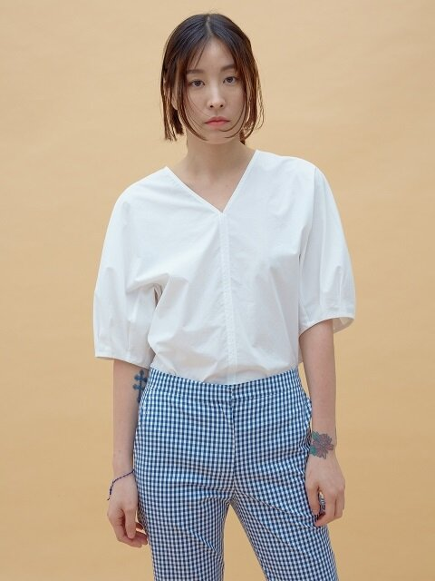 OFF WHITE COTTON VOLUME SLEEVE TOP