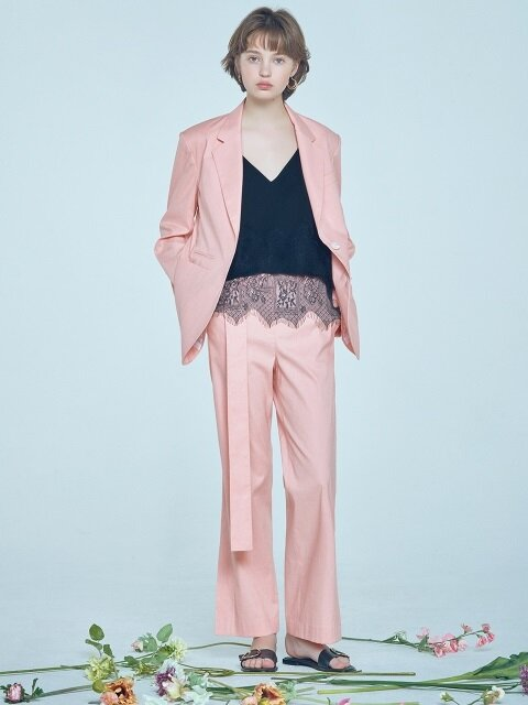 linen notched collar blazer Pink