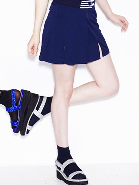 belt pleats skirt