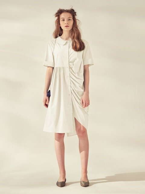 UNBALANCED SHIRTS DRESS_WHITE/NAVY