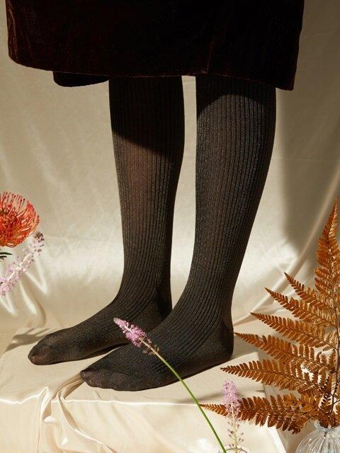 [X VIAPLAIN] silky tights, khaki brown
