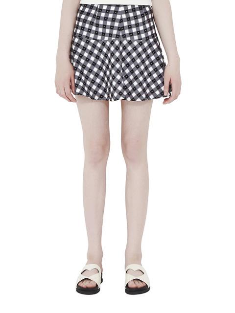 MF check print ruffle skirt