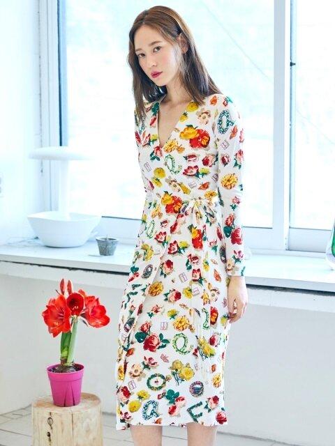 Flower Wrap Dress(WHITE)