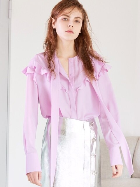 PUSSY BOW BLOUSE LILAC PINK