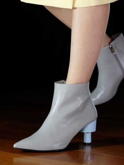 ODD HEEL 70 ANKLE BOOTS IN GREY AND BABY BLUE LEATHER