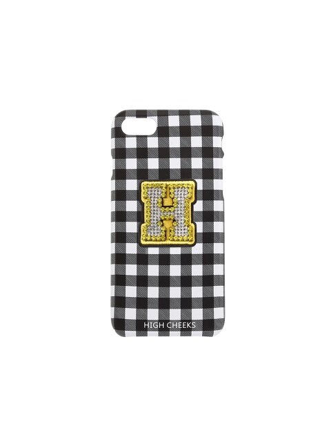 Initial Embellished Plastic Phone Case Black Check