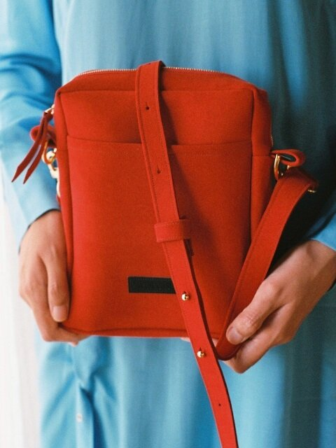 oblong chamude bag- Red