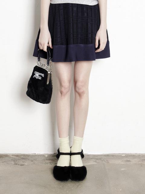 check chiffon flare skirt
