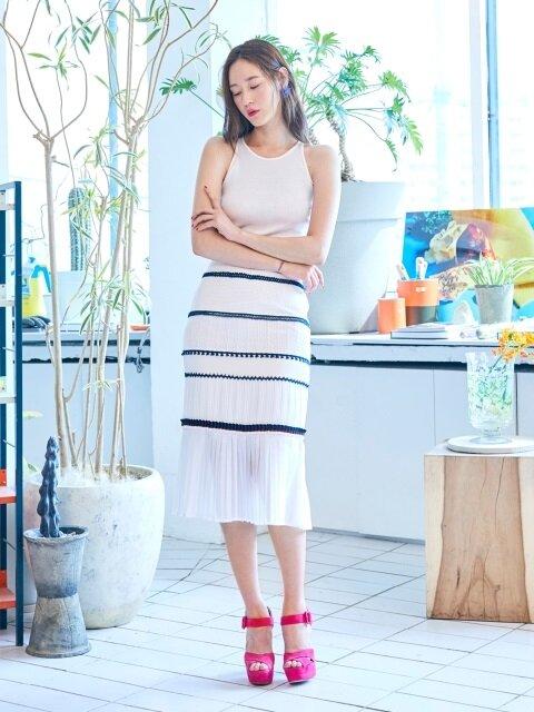 Fabric Block Skirt(NAVY)