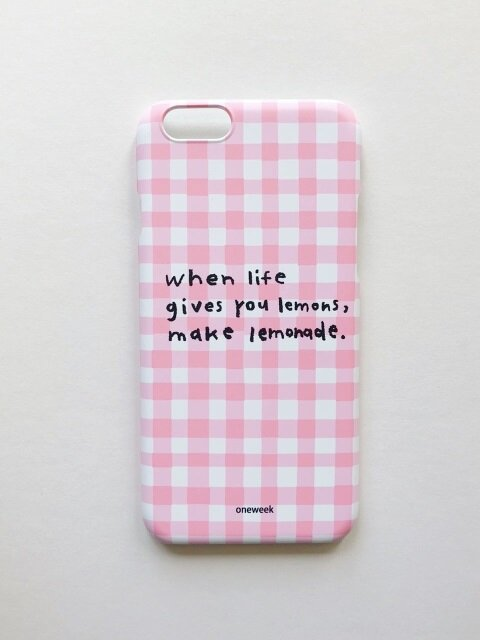 Lemonade case - pink check