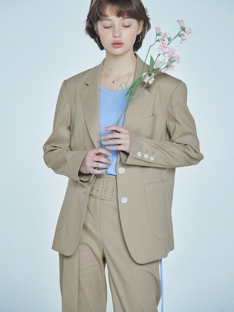 linen notched collar blazer Beige
