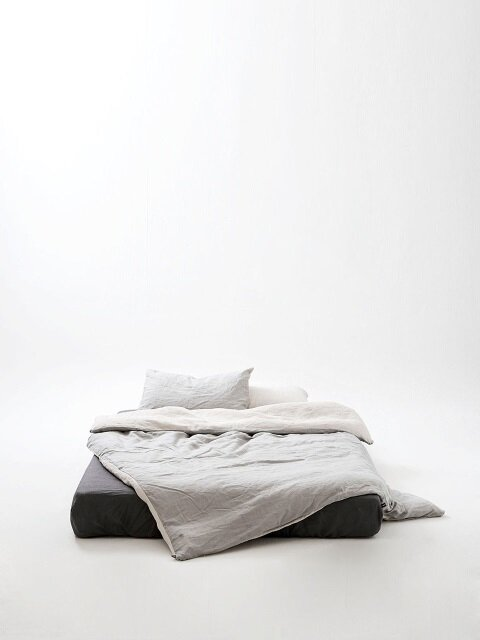 oatmeal(natural)+cool light grey bedding set
