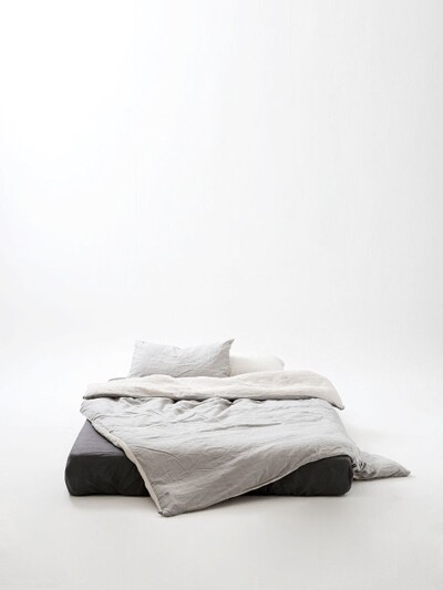 oatmeal(natural)+cool light grey bedding set