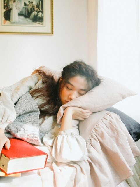 린넨 베개커버 : Linen frill pillow cover