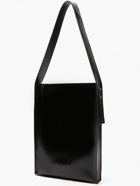ARTIFICIAL LEATHER FLAT SHOULDER BAG (BLACK)