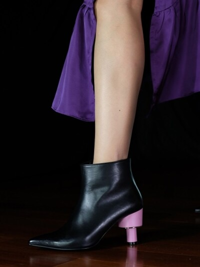 ODD HEEL 70 ANKLE BOOTS IN BLACK AND BABY PINK LEATHER