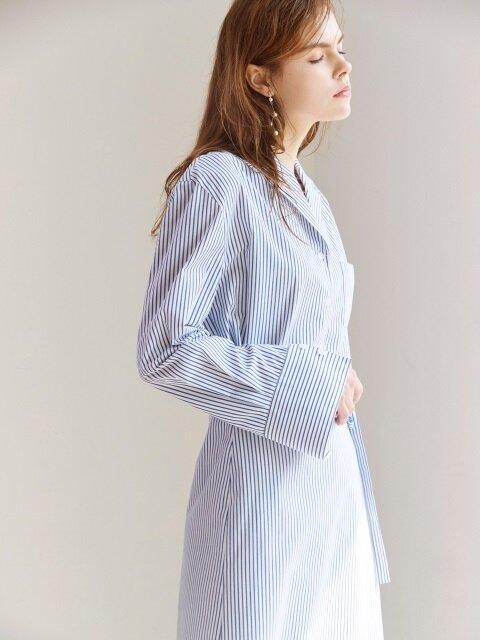 WRAP SHIRT DRESS BLUE STRIPE