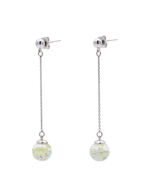 Snowball Long Drop Earrings