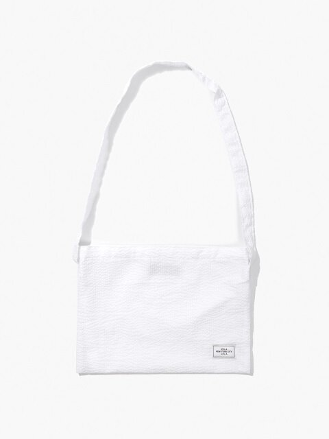 Seersucker Shoulder Bag - White