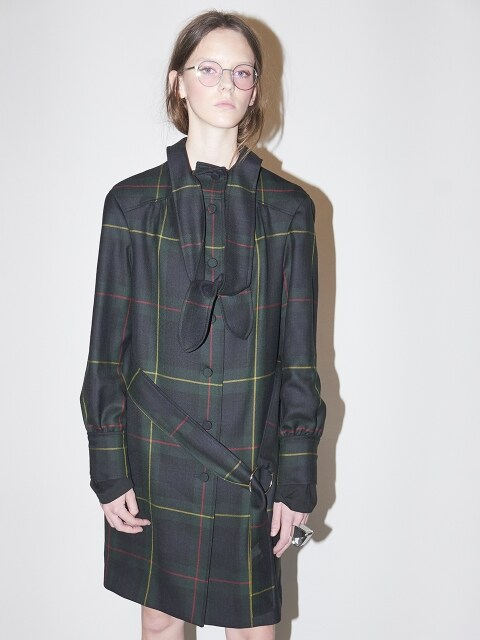 TIED TRENCH COAT-GREEN CHECK
