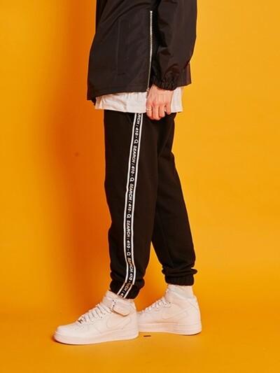 UNISEX LINE TAPE TRACK PANTS _ BLACK
