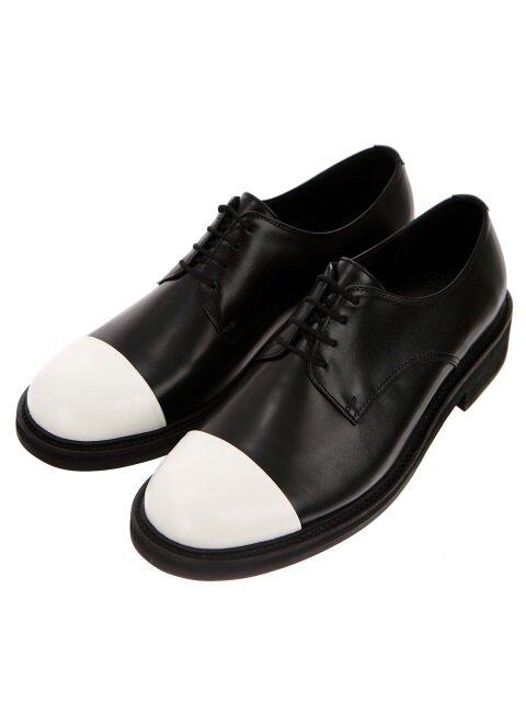 Black Kip White Toe Cap Derby