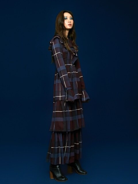 Ruffle CanCan Dress in Check