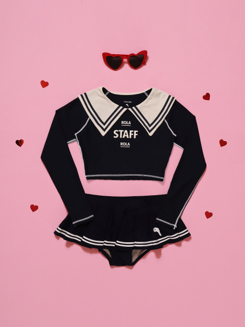 (SW-18384)SAILOR COLLAR CROP RASHGUARD NAVY