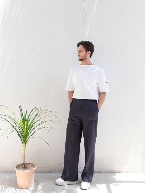 Panel Linen Trousers [ Midnight Navy ]