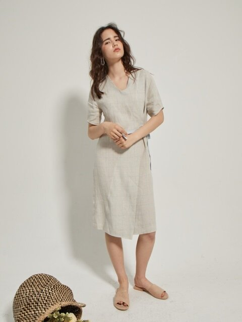 bias-overlap linen dress