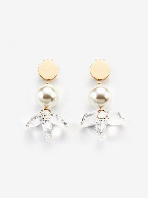 crystal flower and pearl earrings