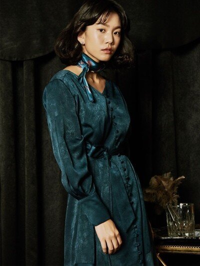 INVERTED PLEAT SLEEVE ROBE DRESS_BLUISH GREEN