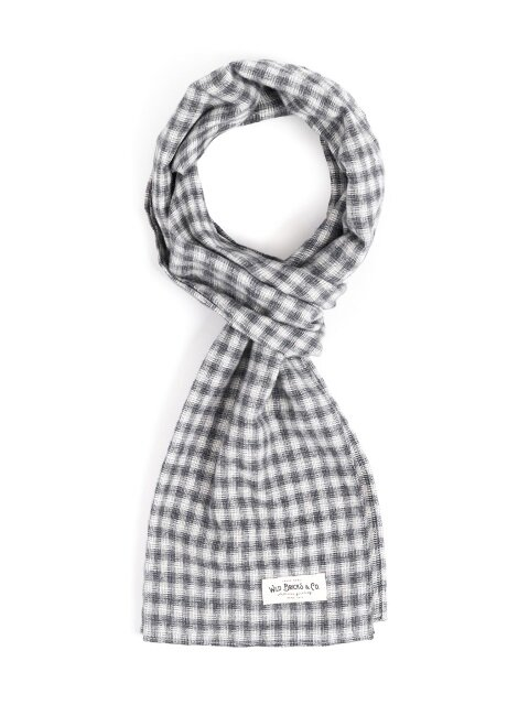 STRAW CHECK STOLE (grey)