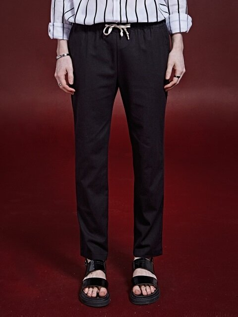 LINEN BENDING STRAIGHT PANTS_BLACK