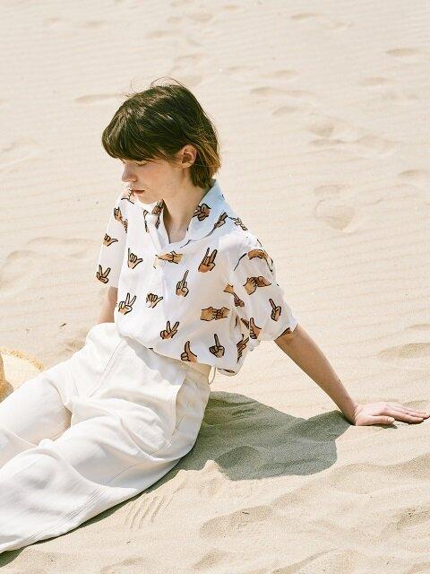 [SS18 NOUNOU] Hand Pattern Rayon Shirts(White)