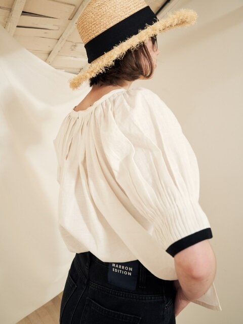 18 summer_Ivory Volume Sleeve Linen Blouse