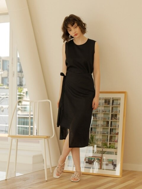 LINEN WRAP ONE-PIECE_BLACK