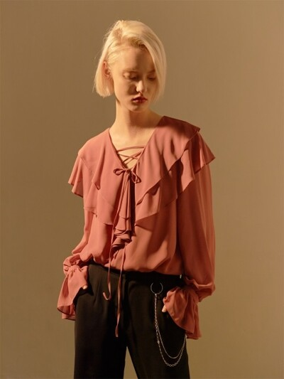 STRING POINT PRILL BLOUSE_ROSE PINK