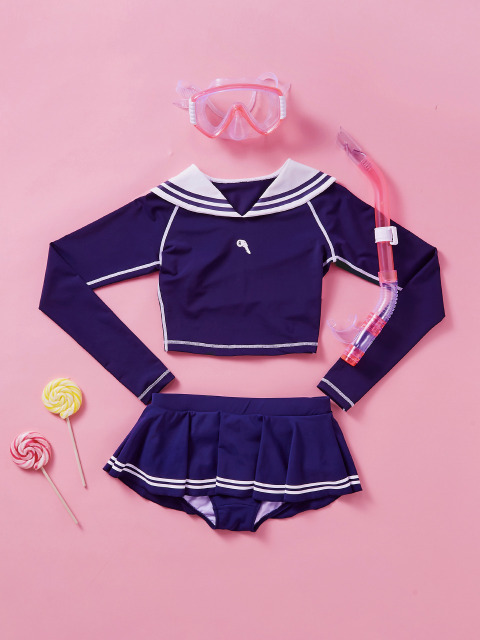 (SW-18383)SAILOR CROP RASHGUARD NAVY