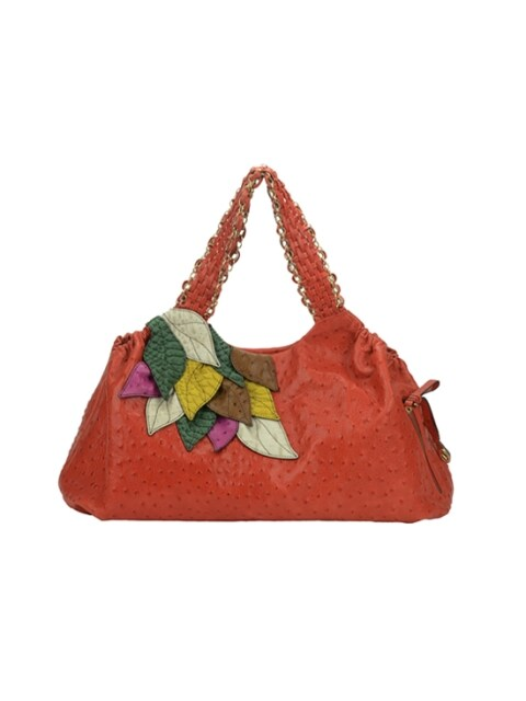 SERENA OSTRICH TOTE & SHOPPER - RUST (MULTI LEAF)