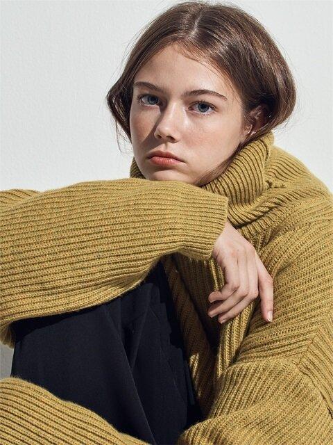 MUSTARD dropshoulder turtleneck knit(CT004)