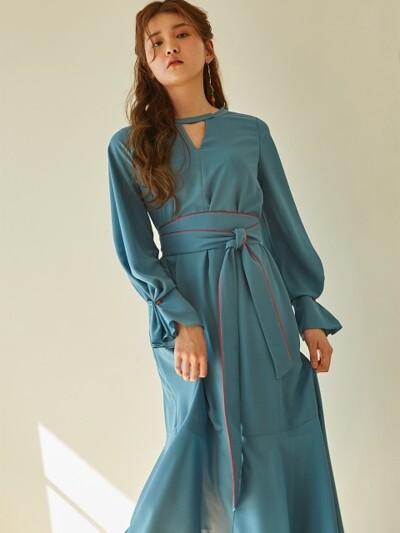 PONIT CUFFS V NECK DRESS_MINT BLUE