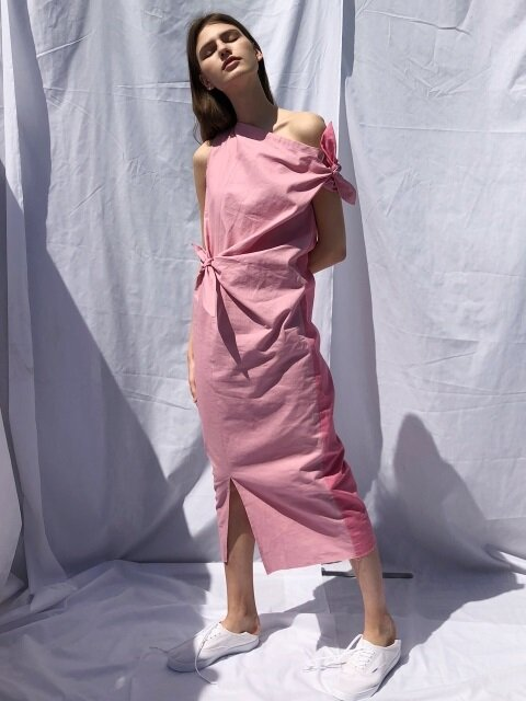 18 SS ribbon linen long dress (pink)