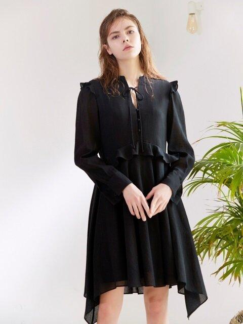 RUFFLE SHIRT DRESS BLACK